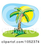 Royalty Free Vector Clip Art Illustration Of A Palm Tree Against A Full Sun by Any Vector