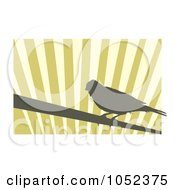 Royalty Free Vector Clip Art Illustration Of A Silhouetted Canary Over Stripes 2