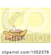 Bread And Oil In A Basket Over A Wheat Background