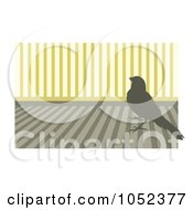 Royalty Free Vector Clip Art Illustration Of A Silhouetted Canary Over Stripes 1