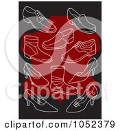 Royalty Free Vector Clip Art Illustration Of A Background Of White Shoes On Black And Red
