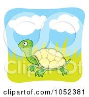 Royalty Free Vector Clip Art Illustration Of A Happy Tortoise In Grass
