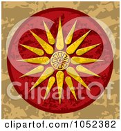 Royalty Free Vector Clip Art Illustration Of A Vergina Sun Macedonia Symbol On A Red And Brown Background by Any Vector