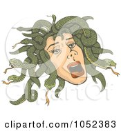 Royalty Free Vector Clip Art Illustration Of Medusas Head With Snakes by Any Vector