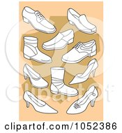 Royalty Free Vector Clip Art Illustration Of A Background Of White Shoes On Tan And Beige