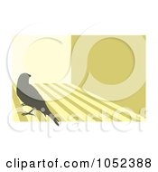 Royalty Free Vector Clip Art Illustration Of A Silhouetted Canary Over Stripes 3