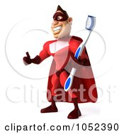 Royalty Free 3d Clipart Illustration Of A 3d Red Super Hero Guy With A Toothbrush Pose 3