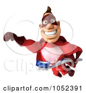 Royalty Free 3d Clipart Illustration Of A 3d Red Super Hero Guy With A Toothbrush Pose 1