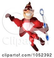 Royalty Free 3d Clipart Illustration Of A 3d Red Super Hero Guy With A Toothbrush Pose 2