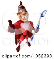 Royalty Free 3d Clipart Illustration Of A 3d Red Super Hero Guy With A Toothbrush Pose 4
