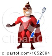 Royalty Free 3d Clipart Illustration Of A 3d Red Super Hero Guy With A Toothbrush Pose 5