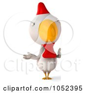Royalty Free 3d Clip Art Illustration Of A 3d White Chicken With A Blank Sign 2