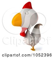 Royalty Free 3d Clip Art Illustration Of A 3d White Chicken Facing Left