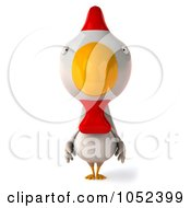 Royalty Free 3d Clip Art Illustration Of A 3d White Chicken Facing Front by Julos