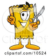 Yellow Admission Ticket Mascot Cartoon Character Holding A Pair Of Scissors