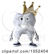 Royalty Free 3d Clip Art Illustration Of A 3d Crowned Tooth Character Facing Front