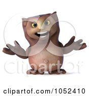 3d Owl Character Facing Front And Shrugging