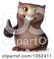 3d Owl Character Facing Front With A Thumbs Up