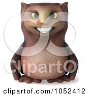 Royalty Free 3d Clip Art Illustration Of A 3d Owl Character Facing Front by Julos