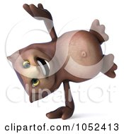 3d Owl Character Doing A Cartwheel