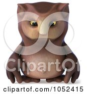 3d Owl Character Facing Front And Pouting