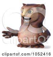 Royalty Free 3d Clip Art Illustration Of A 3d Owl Character Facing Left And Gesturing by Julos