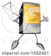 Royalty Free Clip Art Illustration Of A Carton Computer Tower Jumping With An Envelope