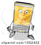 Royalty Free Clip Art Illustration Of A Carton Computer Tower Facing Front And Pouting