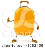 Royalty Free 3d Clip Art Illustration Of A 3d Yellow Rolling Suitcase Character Holding A Thumb Up