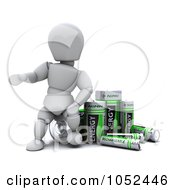 Royalty Free 3d Clip Art Illustration Of A 3d White Character With Nimh Batteries