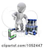 Royalty Free 3d Clip Art Illustration Of A 3d White Character With Batteries