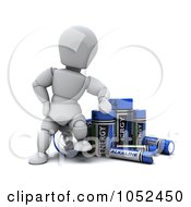 Royalty Free 3d Clip Art Illustration Of A 3d White Character With Alkaline Batteries