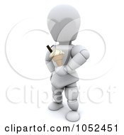 3d White Character Holding An Ice Cream Cone