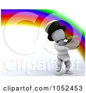 Royalty Free 3d Clip Art Illustration Of A 3d White Character Leprechaun At The End Of A Rainbow by KJ Pargeter