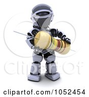 Royalty Free 3d Clip Art Illustration Of A 3d Robot With A Computer Part 2 by KJ Pargeter