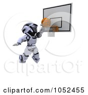 Royalty Free 3d Clip Art Illustration Of A 3d Robot Playing Basketball by KJ Pargeter
