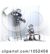 Royalty Free 3d Clip Art Illustration Of 3d Robots Hanging Up Wallpaper