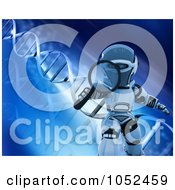 Royalty Free 3d Clip Art Illustration Of A 3d Robot Holding A Magnifying Glass Over Blue Dna