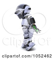 Royalty Free 3d Clip Art Illustration Of A 3d Robot With A Battery