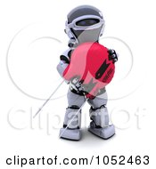 Royalty Free 3d Clip Art Illustration Of A 3d Robot With A Computer Part 3 by KJ Pargeter