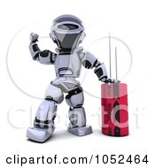 Royalty Free 3d Clip Art Illustration Of A 3d Robot With A Computer Part 1 by KJ Pargeter