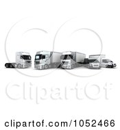 Royalty Free 3d Clip Art Illustration Of A 3d Euro Delivery Fleet