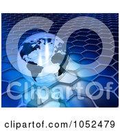 Royalty Free 3d Clip Art Illustration Of A 3d Transparent Globe On Blue Honeycombs