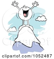 Royalty Free Vector Clip Art Illustration Of A Happy Moodie Character On Top Of A Mountain