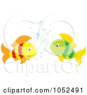 Royalty Free Vector Clipart Illustration Of Two Fish Chatting by Alex Bannykh