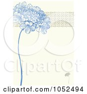 Blue Lilac Flower And Ornate Trim Floral Invitation Background