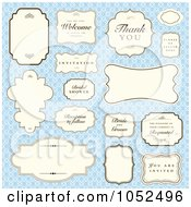 Royalty Free Vector Clip Art Illustration Of A Digital Collage Of Wedding Labels And Greetings Over A Blue Floral Pattern