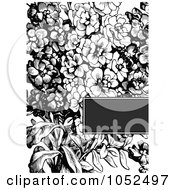 Royalty Free Vector Clip Art Illustration Of A Black And White Lilac Flower Invitation Background