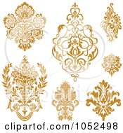 Royalty Free Vector Clip Art Illustration Of A Digital Collage Of Gold Damask Design Elements
