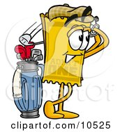 Clipart Picture Of A Yellow Admission Ticket Mascot Cartoon Character Swinging His Golf Club While Golfing